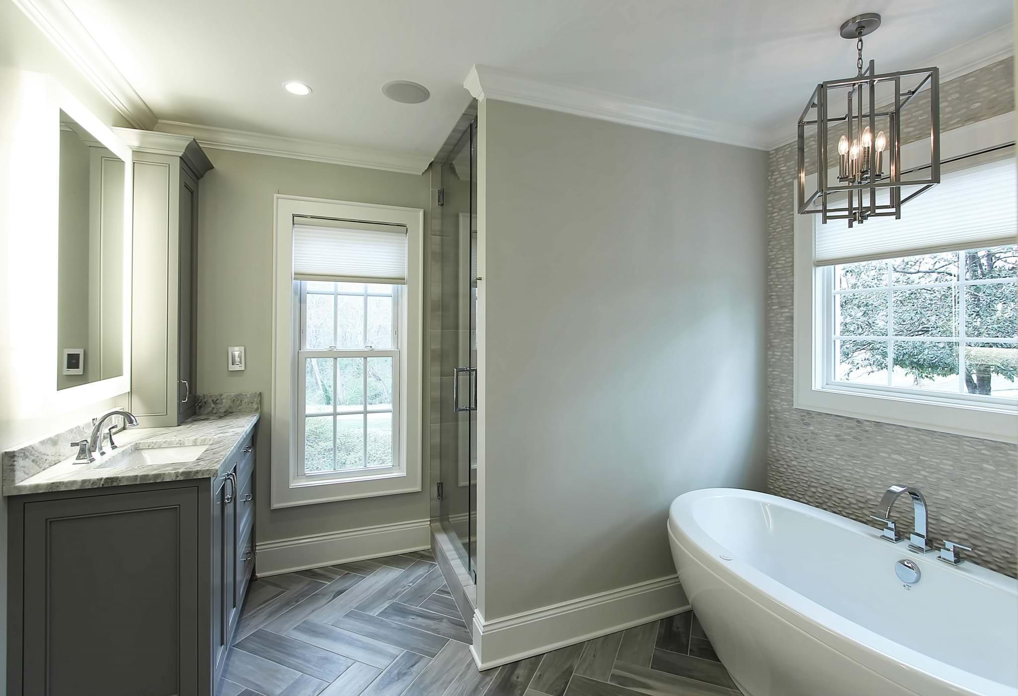 Master-Bath-Herringbone-floor-tile-Bathroom-mirror-with-LED ...