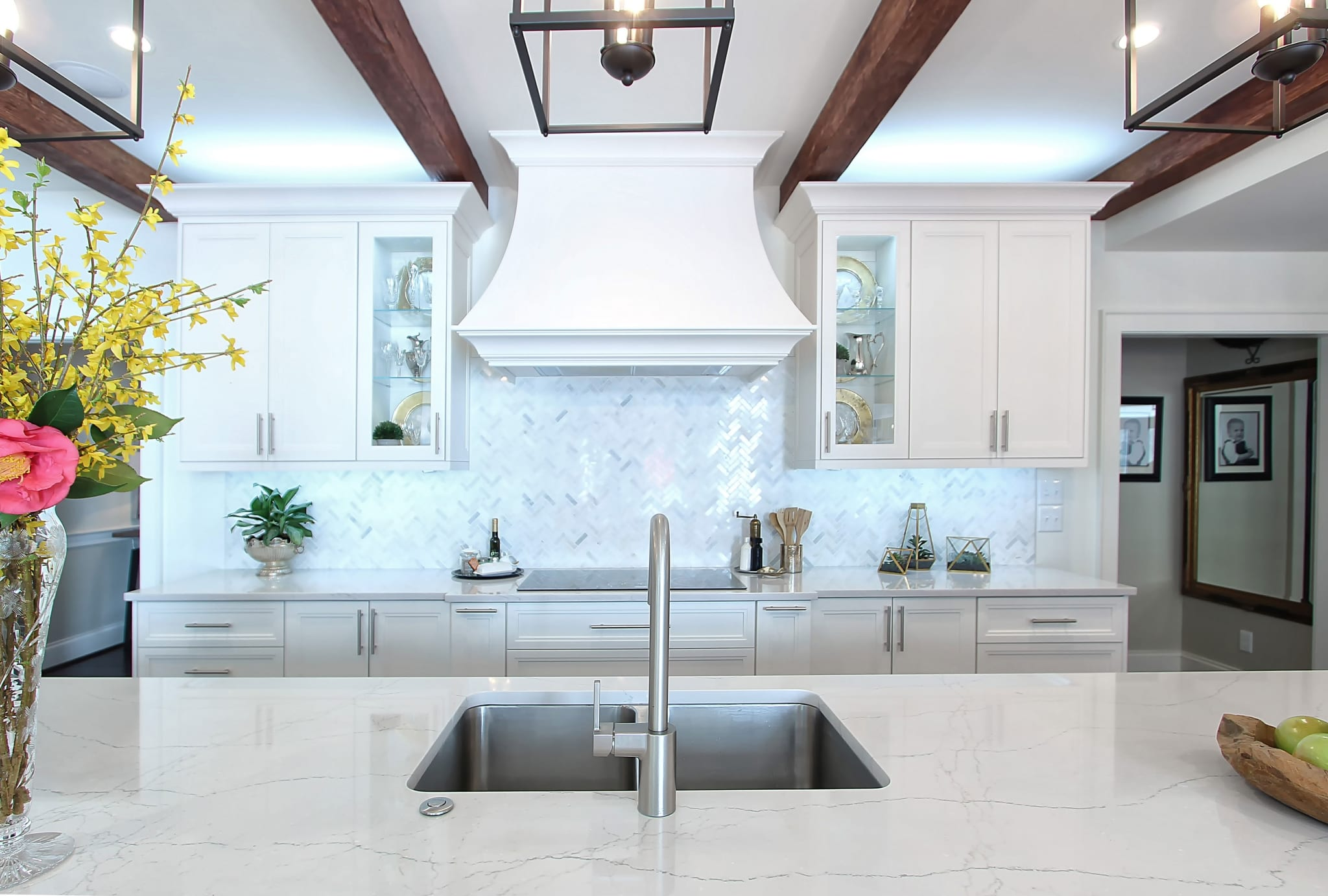 White Custom Kitchen Open Concept Storage Marble Herringbone Backsplash