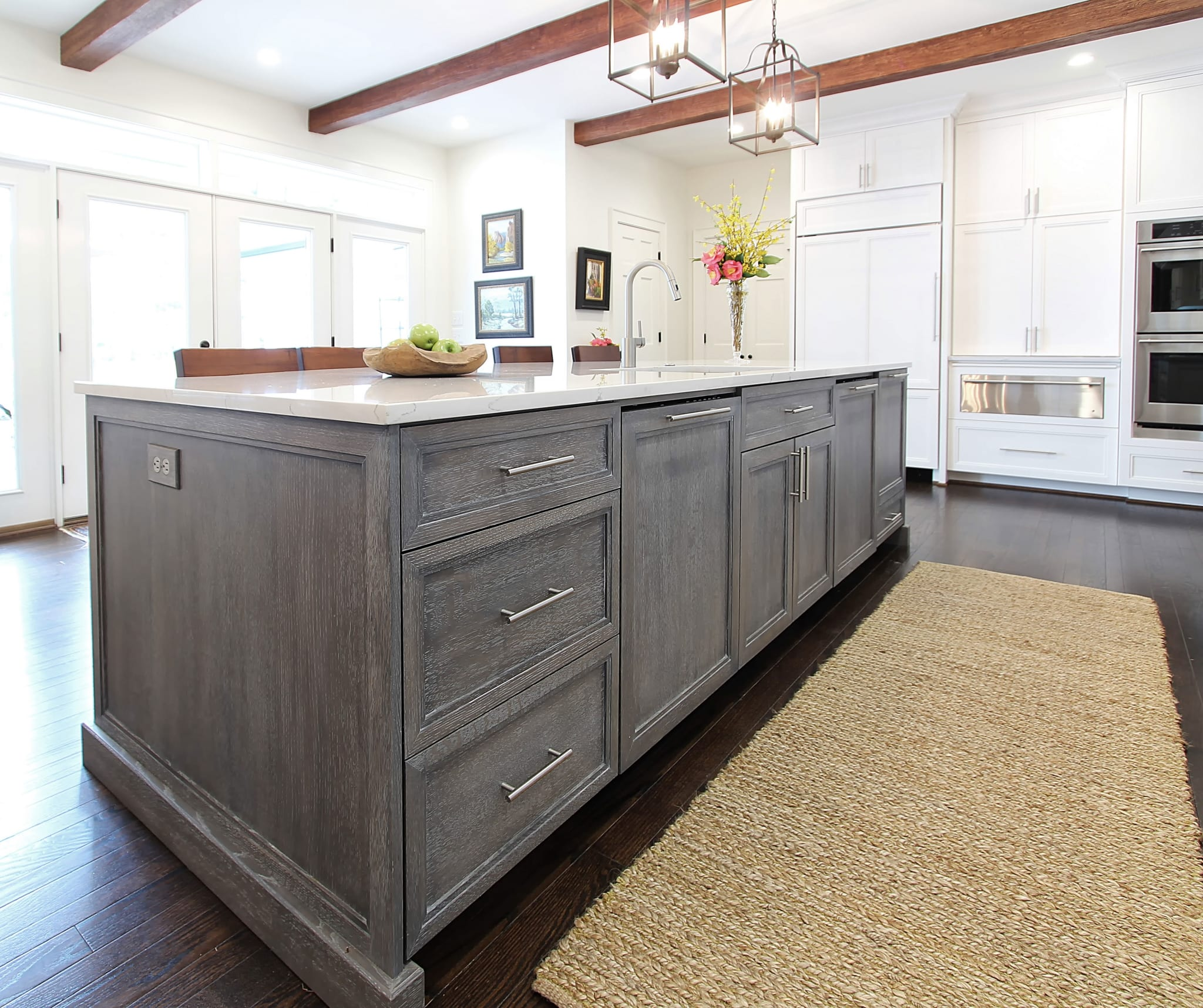 White Oak Kitchen: Two-dishwashers-Cerused-white-oak-White-custom-kitchen