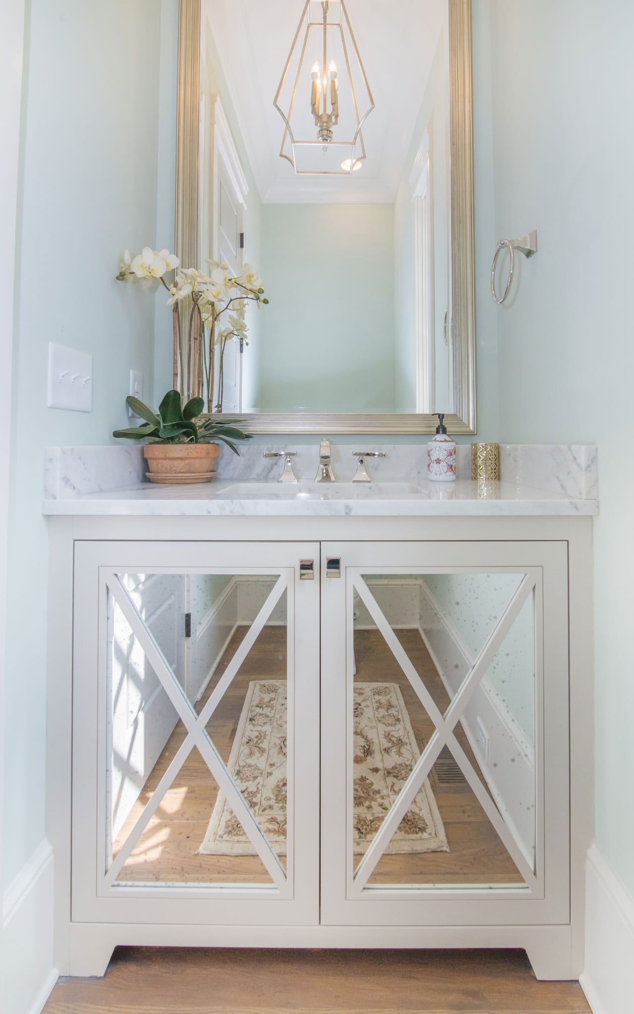 Antique Mirror Half Bath X Mullions Cabinet Doors Greenbrook